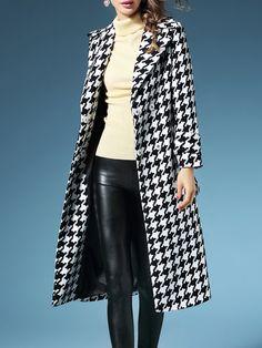 Shop Coats - Lapel Houndstooth Elegant Wool Blend Long Sleeve Coat online. Discover unique designers fashion at StyleWe.com.
