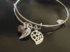 Alex and Ani inspired expandable silver Fall Foliage bangle bracelet