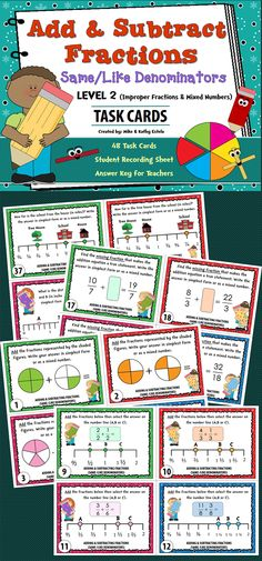 There are forty-eight (48) task cards in this set. This set is level #2 since it involves improper fractions and mixed numbers. Perfect for Grade 4, but also appropriate for Grades 5-6. $ Add And Subtract Fractions, Adding And Subtracting, Math Fractions, Adding Fractions, Multiplication, Fifth Grade Math, Fourth Grade, Math Classroom, Classroom Ideas