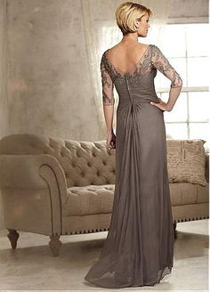 Amazing Chiffon Scoop Neckline Sheath Mother Of The Bride Dress With Lace Liques