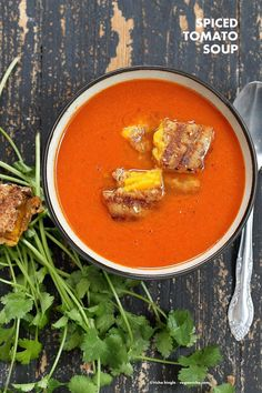 Indian Spiced Tomato Soup. Clear your sinuses tomato soup to warm you up in fall. Easy homemade vegan tomato soup seasoned with cumin, coriander and Turmeric. Vegan gluten-free Soy-free Recipe. | VeganRicha.com