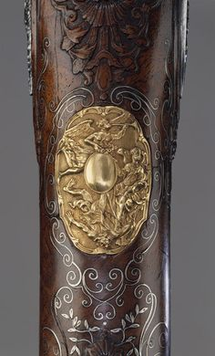 Detail from a flintlock gun made by Louis Jaley, Nicolas Carteron, and Joseph Blachon, Saint-Étienne, France, 1735