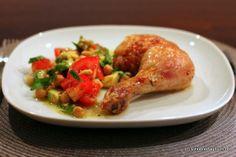 """Glasierte Hähnchenkeulen mit Kichererbsen-Avocado-Salat und """"aha, heute wieder nichts gekocht!"""""""