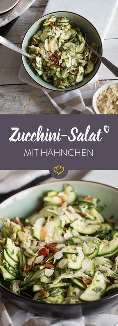 Lukewarm zucchini chicken salad with basil pesto - Bye ready salad! With zucchini, chicken and homemade pesto, you can hang the chopped salad from the - Grilling Recipes, Snack Recipes, Cooking Recipes, Healthy Recipes, Vegetarian Snacks, Diet Snacks, Homemade Pesto, Pesto Recipe, Chicken Salad Recipes