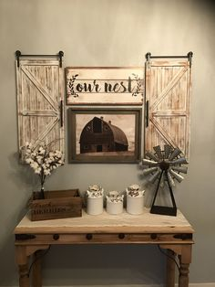 Farmhouse kitchen decor #farmhouse #farmhousedecor #chipandjo #barndoors #barn #windmill #ournest #rustic