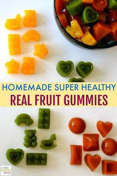 Homemade Healthy Gummies Did you know store bought gummies or fruit snacks are full of sugar, high fructose corn syrup and artificial dyes? Check out the labels! The long list of ingredients indicates the snack is not a he… Healthy Food Options, Healthy Snacks For Kids, Easy Snacks, Quick Appetizers, Healthy Recipes, Detox Recipes, Yummy Snacks, Crockpot Recipes, Gourmet Recipes