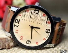 Unisex Wristwatch Leather Barcode W..