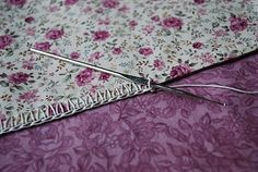 using a wing needle to pre-punch holes for easy crochet edging