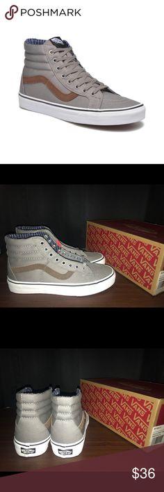 Vans Sk8-Hi Vans Sk8-Hi Reissue Cord & Plaid/ Frost Gray/ Brown Women Sz 8 Men Sz 6.5 Vans Shoes