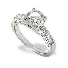 White Gold Na Hoku Solitaire 1.0 Carat, H-VS2 Round Diamond Engagement Ring