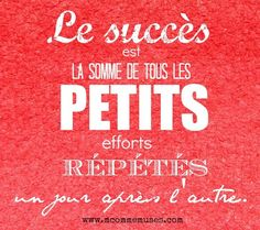 Success is the sum of all small repeated efforts one day after another. Positive Mind, Positive Attitude, Positive Quotes, Motivational Quotes, Inspirational Quotes, More Than Words, Some Words, Proverbs Quotes, French Quotes