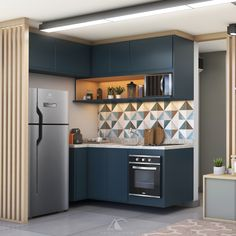 Cozinha compacta em tons de azul e madeira clara, com nicho iluminado. Kitchen Room Design, Studio Kitchen, Kitchen Cabinet Design, Modern Kitchen Design, Home Decor Kitchen, Interior Design Kitchen, Home Kitchens, Galley Kitchens, Kitchen Modular