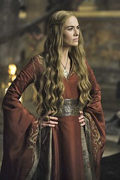 Cersei, while not my favorite GOT character, has some pretty rockin' medieval-style dresses.  The costume designers on GOT have fun mixing medieval w/fantasy and the costumes really showcase cultural and even social differences.