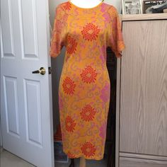 "💐...Christian LACROIX vintage couture dress Designer...Christian Lacroix couture... dress. Lovely citrus colors, material has a generous give to it, stretchy....Gorgeous detailing through out the dress, see photos, Bust 16"", waist 15"", hips 17"" laying flat, US size 12, Made in Italy, fabric from Italy, excellent condition, no trade, no pp, smoke and pet free environment Christian Lacroix Dresses"