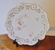 T Germany Platter, Carl Tielsch & Co Cake Plate, Antique Floral Plate Christmas Sale, Christmas Wedding, Vintage Plates, Scroll Design, Displaying Collections, Cake Plates, Rose Buds, Platter, Pink Roses