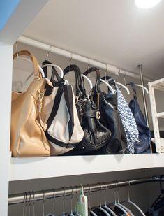 Closet Storage, Closet Organization, Purse Rack, Walk In Closet Design, Handbag Storage, Home Management, Storage Hacks, Closet Bedroom, Trends 2018
