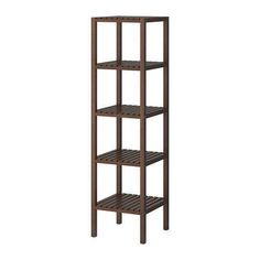 IKEA - MOLGER, Shelving unit, dark brown, , The open shelves give an easy overview and easy reach. Bathroom Shelving Unit, Ikea Bathroom Storage, Ikea Storage, Bathroom Organization, Ikea Molger Regal, Ikea Regal, Ikea Shopping, Bathroom Gallery, Brown Bathroom