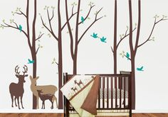 NEW Birch Tree decal with Deers LG set 3 Piece by quirkeewalls, $125.00