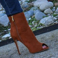 Women sexy brown suede open toe short boots stiletto heels elegant size zipper ankle boots exquisite dropship booties on sale Dream Shoes, Me Too Shoes, Stilettos, Stiletto Heels, High Heels, Pumps, Hot Shoes, Shoes Heels, Fashion Shoes