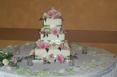 Green and pink flower cake by christiescakery, via Flickr