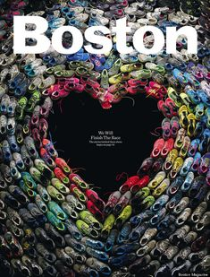 """The May Boston Marathon Cover features shoes worn during the marathon arranged so that the negative space is in the shape of a heart. """"The Shoes We Wore,"""" in the May issue will feature individual pairs of shoes to illustrate the stories told by the runners. A  page has been created (bostonmagazine.com/shoes) for overflow photos and stories submitted by people from around the world.  #Illustration #Boston_Marathon"""