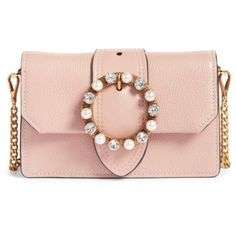 Women's Miu Miu Lady Madras Crystal Embellished Leather Crossbody Bag (2,145 BAM) ❤ liked on Polyvore featuring bags, handbags, shoulder bags, orchidea, crossbody purse, cross-body handbag, shoulder handbags, man leather shoulder bag and hand bags #handbagsandpurses