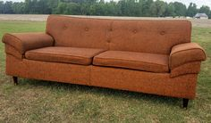 Beautiful Mid Century Orange Tweed Fabric Sofa With Spindly Legs Great Detail in Design by gremlina on Etsy