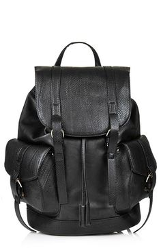Topshop Snakeskin Pocket Faux Leather Backpack | Nordstrom