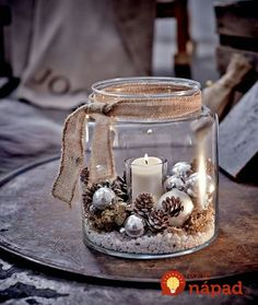 Windlicht, Glas Vorderansicht - All For Remodeling İdeas Christmas Table Decorations, Christmas Candles, Rustic Christmas, Christmas 2019, Christmas Home, Merry Christmas, Christmas Ornaments, Winter Decorations, Vintage Christmas