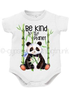Panda Baby Outfit - Be Kind to the Planet - Animal Print Baby Onesie - Earth Day Onesie - Baby Animal Print Onesie - Woodland Baby Outfit by GypsyJunkClothing on Etsy