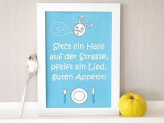 Print*Tischspruch*Esszimmer*Hase*Besteck*Teller von Hexengrundwerkstatt auf DaWanda.com