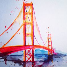 San Francisco Golden Gate Bridge - Travel Watercolor - Lana Moes Illustration - Wanderlust California Dreaming