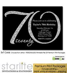 Black Silver Glitter 70th Birthday Invitation