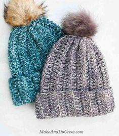 Easy Knit Look Crochet Hat Pattern Bonnet Crochet, Easy Crochet Hat, Chunky Crochet, Knit Crochet, Double Crochet, Simple Crochet, Crochet Socks, Unique Crochet, Crochet Blankets