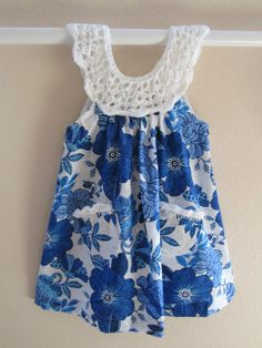 Girls dress in blue print  with white crochet  bodice on Etsy, $35.00