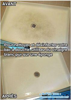 Pour nettoyer et désinfecter votre bac à douche, utilisez du vinaigre blanc