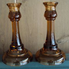 Pair Elegant Amber Tiffin Glass Trumpet Candlesticks | eBay Candlestick Holders, Candlesticks, Tiffany Glass, Trumpet, Cobalt Blue, Amber, Elegant, Yellow, Antiques