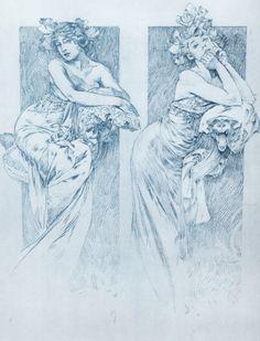 """linakaye: """" Sketch by Alphonse Mucha """""""