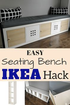 IKEA Kallax Hack: Turn the bookcase into a bench with storage {DIY}Ikea storage bench hack. Turn a popular Ikea bookcase into a bench and storage bench. Great idea for window seats in the Ikea Hack Bench, Diy Bench Seat, Corner Bench Seating, Storage Bench Seating, Office Seating, Diy Bench With Storage, Kitchen Seating, Ikea Kitchen Bench, Dining Bench With Storage
