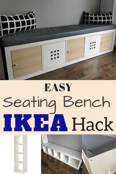 IKEA Kallax Hack: Turn the bookcase into a bench with storage {DIY}Ikea storage bench hack. Turn a popular Ikea bookcase into a bench and storage bench. Great idea for window seats in the Ikea Hack Bench, Diy Bench Seat, Ikea Kallax Hack, Storage Bench Seating, Diy Bench With Storage, Dining Bench With Storage, Ikea Kallax Bookshelf, Bookshelf Bench, Bookshelf Storage