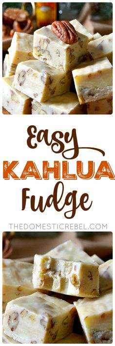 This Easy Kahlua Fudge is a simple recipe you'll pass down for generations! Rich, creamy, chewy and soft, it's made with sweet white chocolate, crunchy toasted pecans and decadent Kahlua. Makes a ton and is great for gifting or feeding a crowd! Kahlua Recipes, Fudge Recipes, Candy Recipes, Sweet Recipes, Holiday Recipes, Dessert Recipes, Christmas Desserts, Christmas Baking, Christmas Fudge