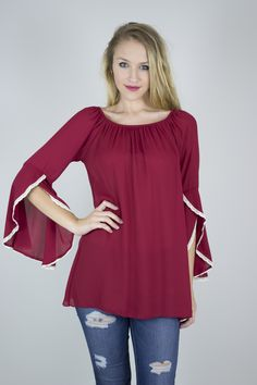 Bashful Bell Sleeve Shift Shirt