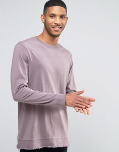 Image 3 of ASOS Longline Long Sleeve T-Shirt With Distressed Hem Panel