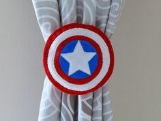 2 Curtain Tie Backs, superhero, American tie backs, Captain America inspired tie backs, Captain America logo, boy room, kids room, hero