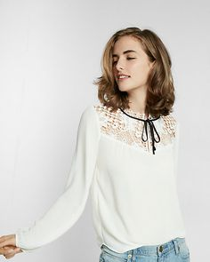 sheer yoke tie neck blouse