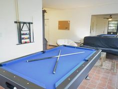 Full size pool table to keep you entertained.