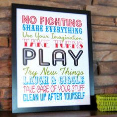 Cute playroom subway art printable from Anything But Perfect