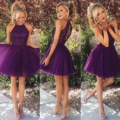 A-line High Neck Black Beaded Bodice Grape Tulle Short Prom Homecoming Dresses…