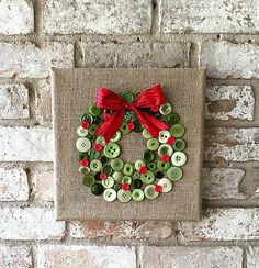 Button Wreath on Burlap Frame ~ An easy DIY craft project * To purchase this adorable wreath ~ www.etsy.com/listing/251758032/christmas-burlap-button-wreath-art