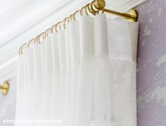 Drapery Return. One of the differences in custom drapes and ready made. Gold hardware is gorgeous!